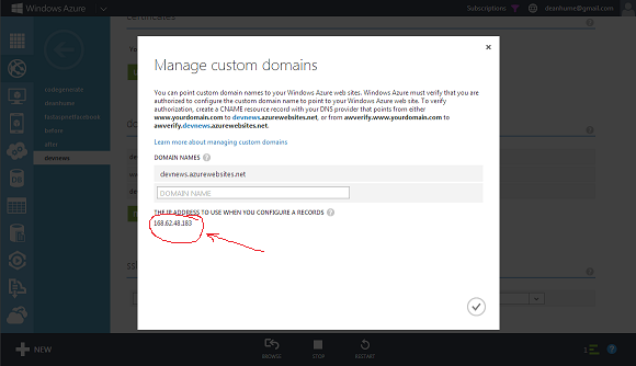Windows Azure Manage Domains