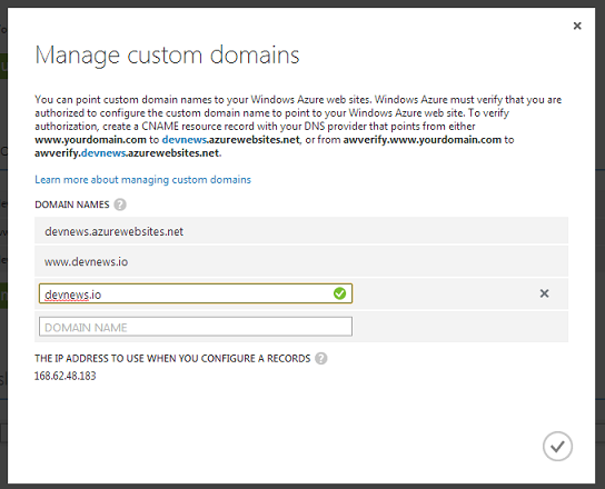 Windows Azure Verify Domain