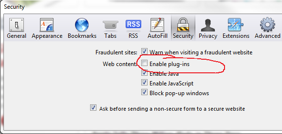 Safari Disable Flash menu