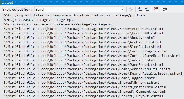 Visual Studio Output Window