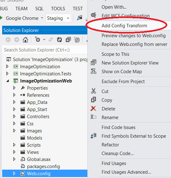 """Visual Studio Add Config Transform"""